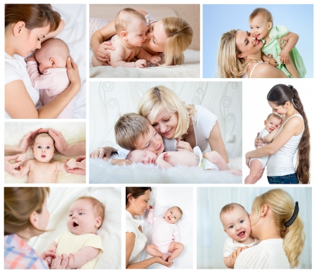 baby with mother: Collage mother day concept  Loving moms with babies  Stock Photo