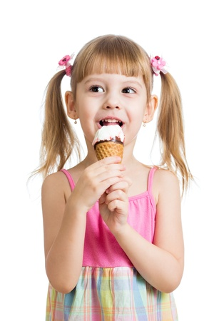 little girl eating ice cream in studio isolated photo