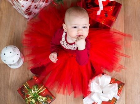 top view of cristmas baby with gifts Stock Photo - 20620586