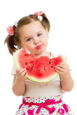 kids eating healthy: kid girl eating watermelon isolated on white background Stock Photo