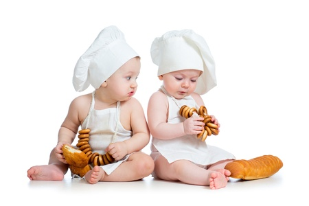 funny cooks babies boy and girl photo