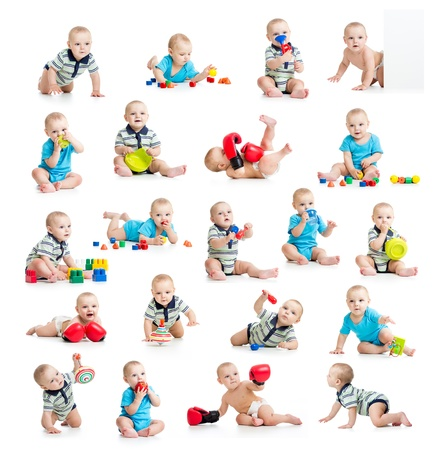 baby crawling: collection of active baby or kid boy isolated Stock Photo