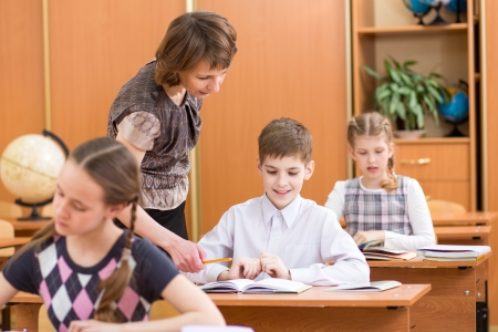 learning process: Schoolkids work at lesson. Teacher controling learning process. Stock Photo