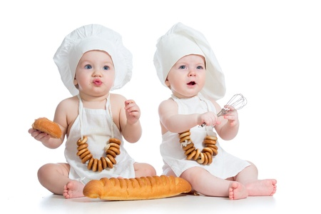 6 9 months: funny cooks children boy and girl
