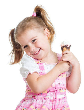smiling child girl with ice cream isolated photo