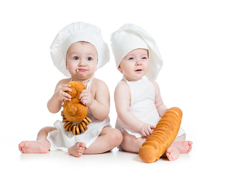 funny bakers babies boy and girl photo