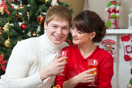 Happy young couple celebrating Christmas or new year at home Stock Photo - 22249620