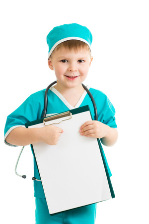 doctor s smock: kid boy uniformed as doctor with clipboard