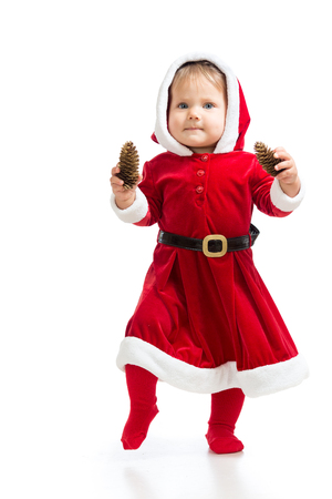 Santa Claus baby girl isolated on white background photo