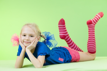 socks child: pretty girl in bright clothing or fancy dress