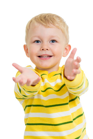 hands out: child boy with palm up