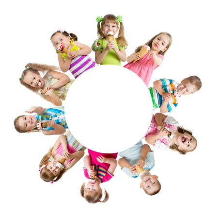 childhood: Group of kids or children eating ice cream in circle