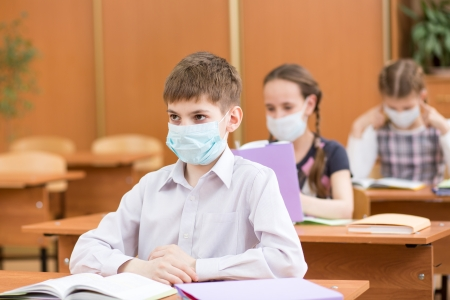 pupils with protection mask against flu virus at lesson Stock Photo - 22707027