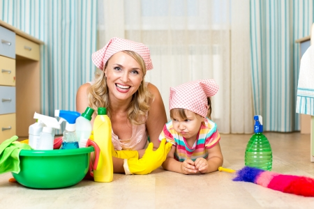 mother and her daughter ready to room cleaning photo