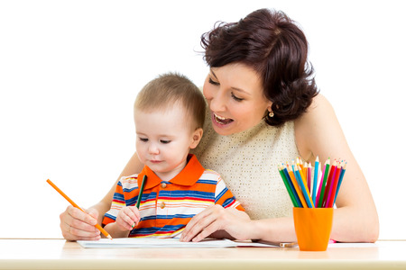 mother and her child pencil together photo