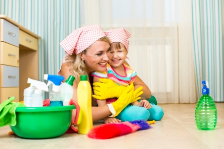 mother and kid ready to room cleaning photo