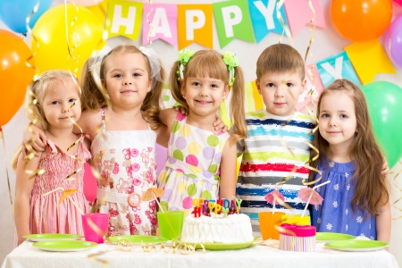 kids celebrating birthday holiday photo