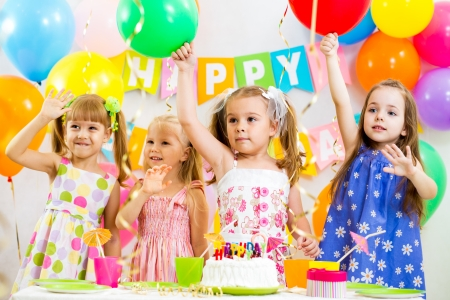 group of kids at birthday party photo