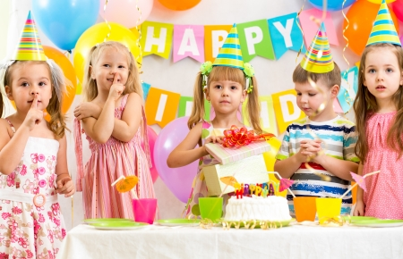 kids birthday party: group of kids at birthday party Stock Photo