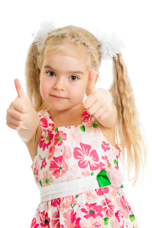 Happy smiling kid girl with ok hand sign photo