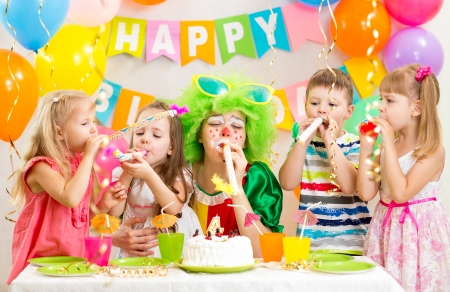 kids and clown at birthday party Stock Photo - 23108686