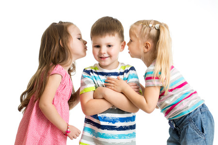 kids girls sharing a secret with boy isolated photo