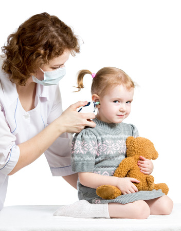 doctor measuring  temperature kid girl isolated photo