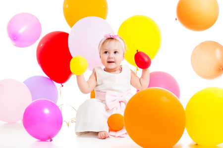 kid girl with balloons photo