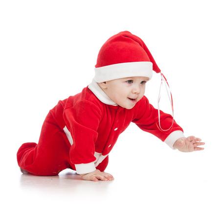 crawling baby boy in Santa clothes photo