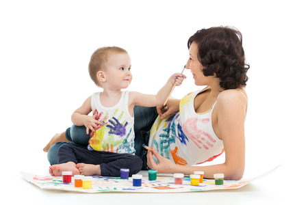 mother wih kid boy drawing and painting together Stock Photo - 23378964
