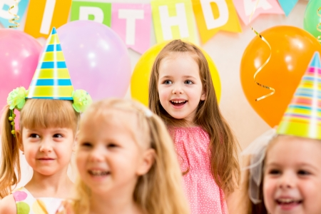 pretty children on birthday party photo
