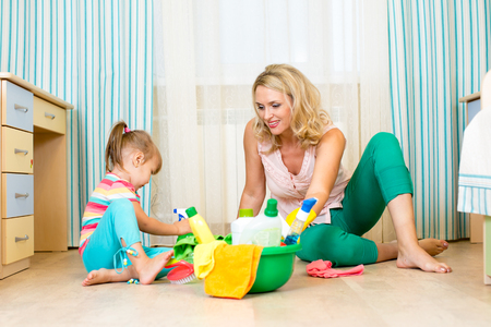 mother and her daughter ready to room cleaning Stock Photo - 23379928