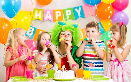 children and clown at birthday party Stock Photo - 23713262
