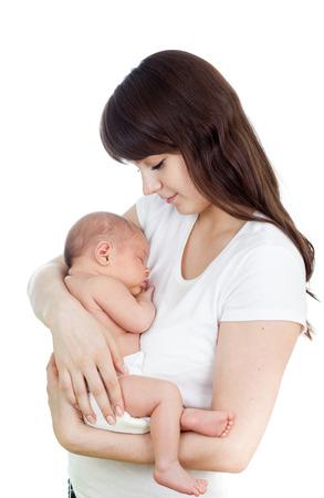 amamantando: madre feliz con el beb� reci�n nacido Foto de archivo