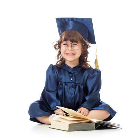 funny kid in academician clothes  with book photo