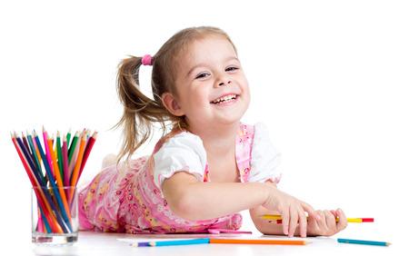 crayon drawing: kid girl drawing with pencils