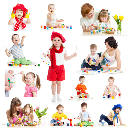 Group of kids or children paint with brush or fingers Stock Photo - 23956305
