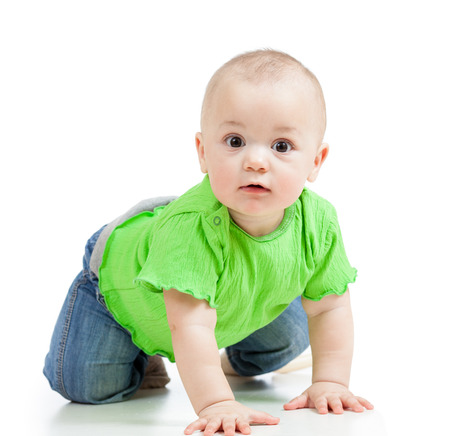 funny baby crawling photo