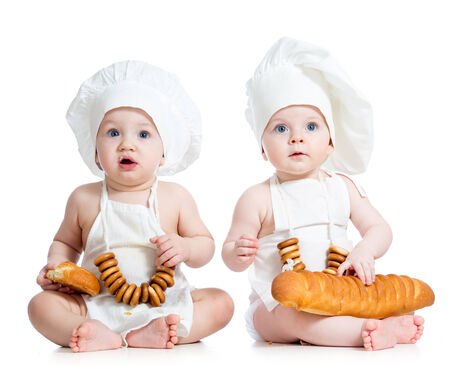 funny cooks children boy and girl photo