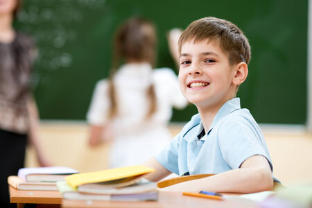 children writing: School boy in classroom at lesson Stock Photo