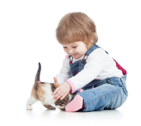 happy kid playing with cat kitten photo