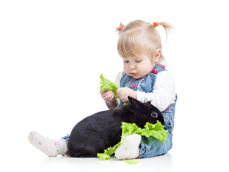 kid feeding a rabbit with lettuce photo