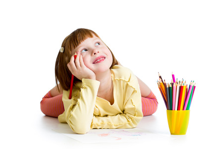 dreamy child girl with pencils photo