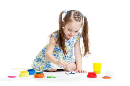 child painting with brush photo