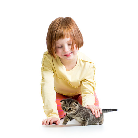 smiling kid girl playing with cat kitten photo