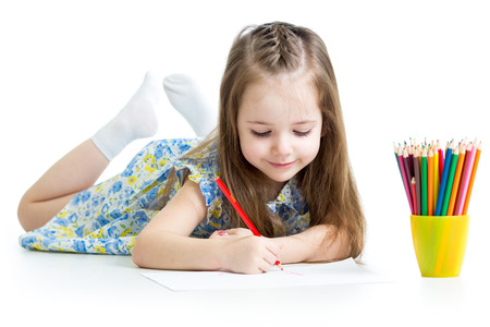 little girl surprised: kid girl drawing with pencils
