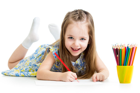 child girl drawing with pencils Stock Photo
