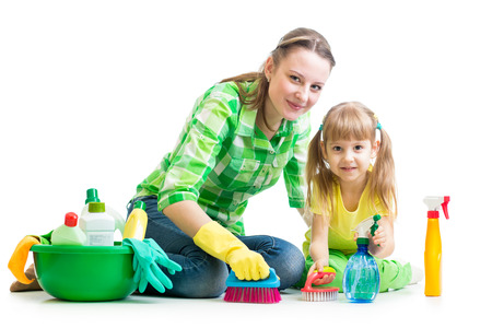 mother and kid cleaning room photo