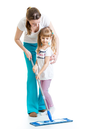 duties: mother and kid clean room Stock Photo
