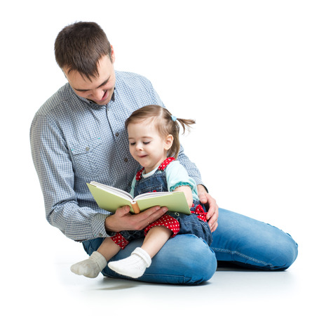 reading book: father reading a book to kid
